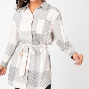 Flannel Tunic Line Plaid - Cream